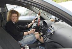 Woman in the Car closeup Stock Image