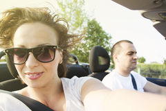 Woman in car convertible Royalty Free Stock Image