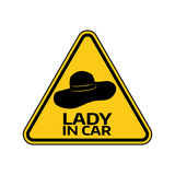 Woman car driver sticker. Female in automobile warning sign. Lady hat in yellow triangle to a vehicle glass. Vector illustration Stock Images