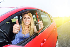 Woman in a car Royalty Free Stock Images
