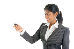 Woman with car key Stock Photography