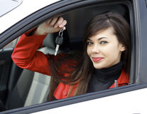 Woman with car keys Royalty Free Stock Images