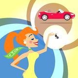 Woman with car keys. Woman with keys for a new car vector illustration Royalty Free Stock Images