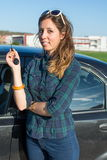 Woman with car keys Stock Image