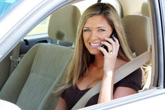 Woman In Car On Phone Royalty Free Stock Photo