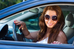 Woman in car portrait Royalty Free Stock Photos