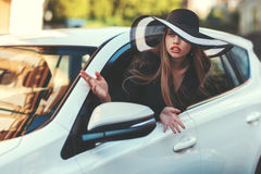 Woman in the car. Stock Photo