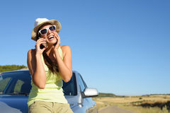Woman on car roadtrip having fun Royalty Free Stock Images