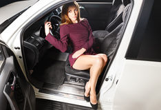 Woman   in a car Stock Image