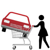 Woman car shopper buying auto inside shopping cart Stock Image