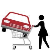Woman car shopper buying auto inside shopping cart Stock Image