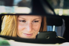 Woman in a Car - Text and Drive Stock Photos