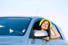 Woman on car travel vacation Stock Photography