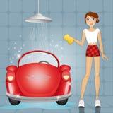 Woman at car wash Royalty Free Stock Photo