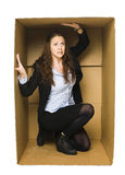 Woman in a Carboard Box Stock Image