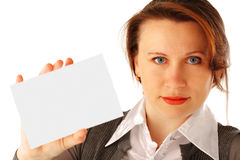 Woman with Card. Young woman holding a blank card Royalty Free Stock Photography