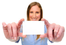 Woman with card Royalty Free Stock Images