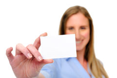 Woman with card Royalty Free Stock Photos