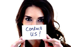 Woman with a Card- Contact US! Stock Photos