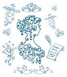 Woman card, curly poster. Background love, bird decor element, emblem, curl decoration stock illustration