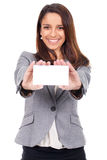 Woman with card in hand to message Royalty Free Stock Photo