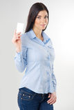 Woman with card Royalty Free Stock Image