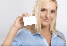 Woman with card Stock Photos
