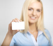 Woman with card Royalty Free Stock Photo