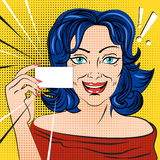 The woman with the card. Vector illustration pop art Stock Images
