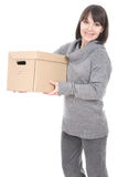 Woman with cardboard box. Young adult brunette woman holding cardboard box. over white background Stock Photography