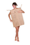 Woman in cardboard box Royalty Free Stock Photography
