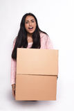 Woman with cardboard boxes Royalty Free Stock Photography
