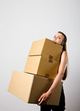 Woman and cardboards. stock images