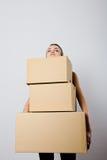 Woman and cardboards. stock photos