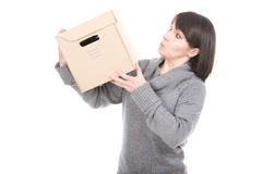 Woman with cardbox Royalty Free Stock Photography