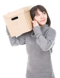 Woman with cardbox. Young adult brunette woman holding cardbox. over white background stock photo