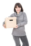 Woman with cardbox Stock Images