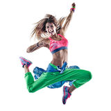 Woman cardio dancers dancing fitness exercising excercises isolat. One caucasian woman cardio dancers dancing fitness exercising excercises in studio isolated on royalty free stock images
