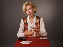 Woman with cards Stock Image