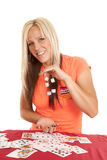Woman cards drop from one hand to the other Royalty Free Stock Photo