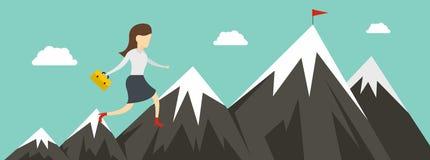 Woman career banner, flat style vector illustration