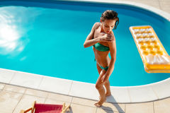 Woman careful not to get sunburn Royalty Free Stock Photography