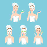 Woman cares her face and skin. Facial treatment procedures. Attractive young woman care her face and skin, using cream and applying natural mask. Facial Stock Photos