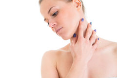 Woman cares about her skin neck, model posing at studio  Stock Images
