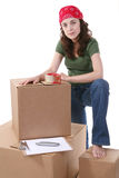 Woman and Cargo Stock Photo