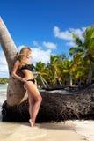 Woman on caribbean beach Royalty Free Stock Photography