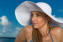 Woman in caribbean beach Royalty Free Stock Image
