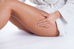 Woman caring about her body. Close-up of woman caring about her body stock images