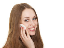 Woman caring about her fresh healthy skin of face Stock Photos