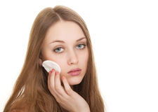 Woman caring about her fresh healthy skin of face Stock Images